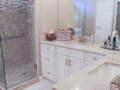 L-Shape Double Vanity, Floors, Enameled Cabinets